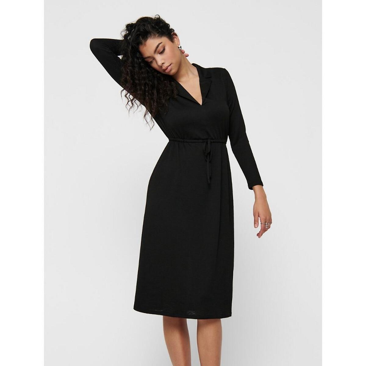 Платье La Redoute Длинное рубашечный воротник S черный платье la redoute длинное amandine s разноцветный