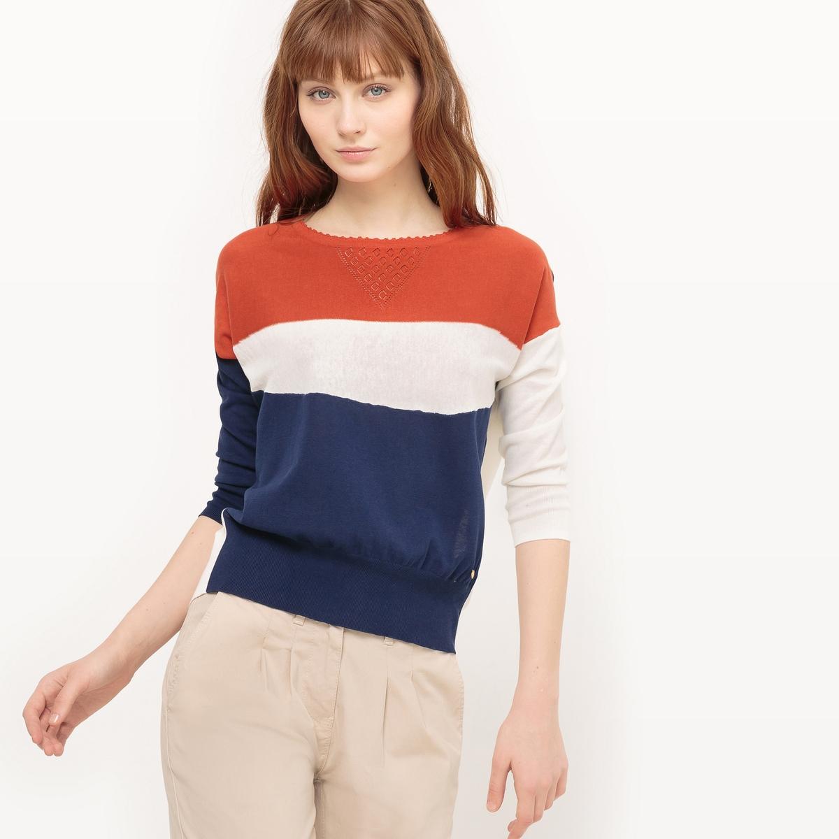 Пуловер с круглым вырезом из хлопкаМатериал : 100% хлопок Длина рукава : длинные рукава Форма воротника : круглый вырез Покрой пуловера : стандартный Рисунок : в полоску<br><br>Цвет: темно-синий/ оранжевый<br>Размер: M