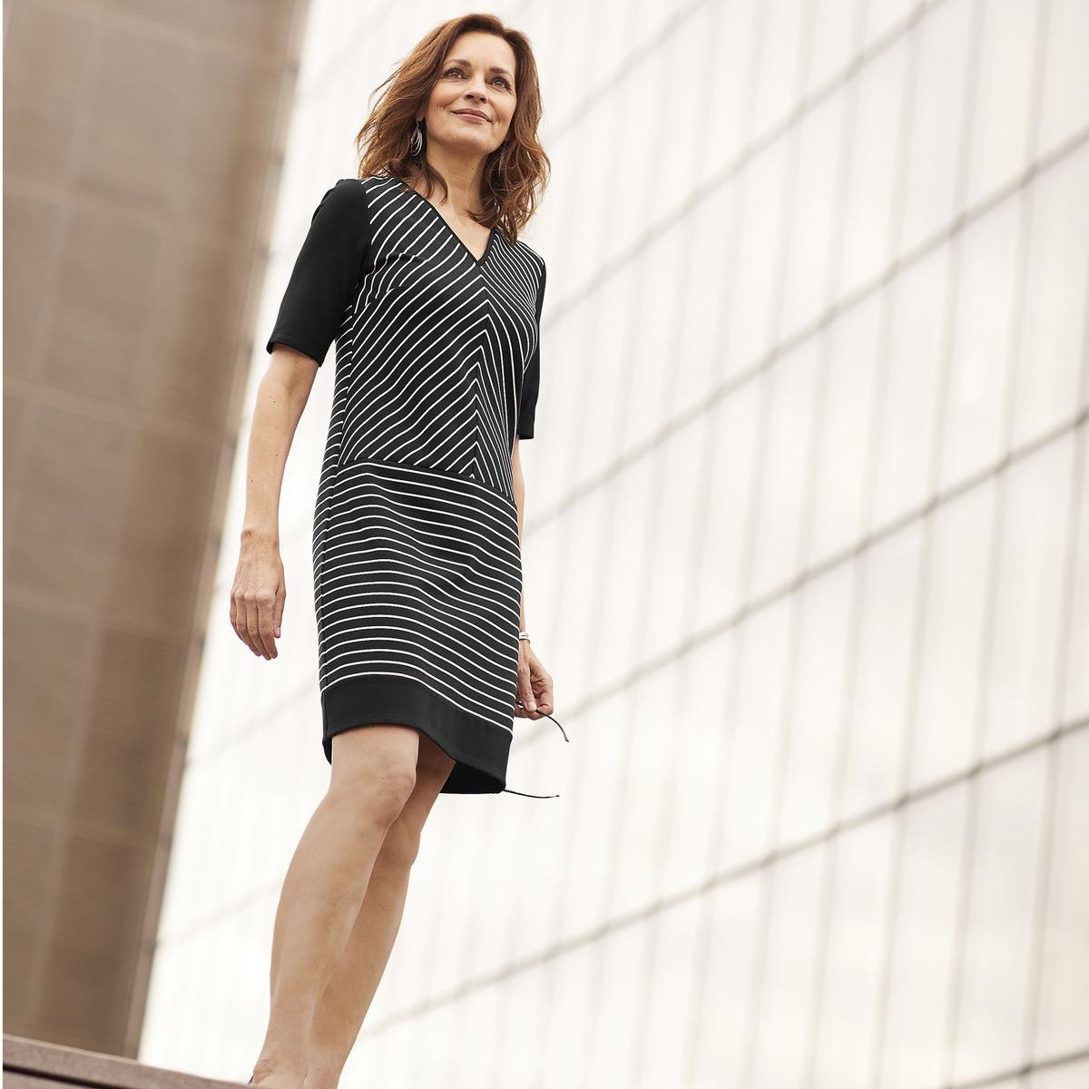 Imagen principal de producto de Vestido recto a rayas con manga 3/4 - Anne weyburn