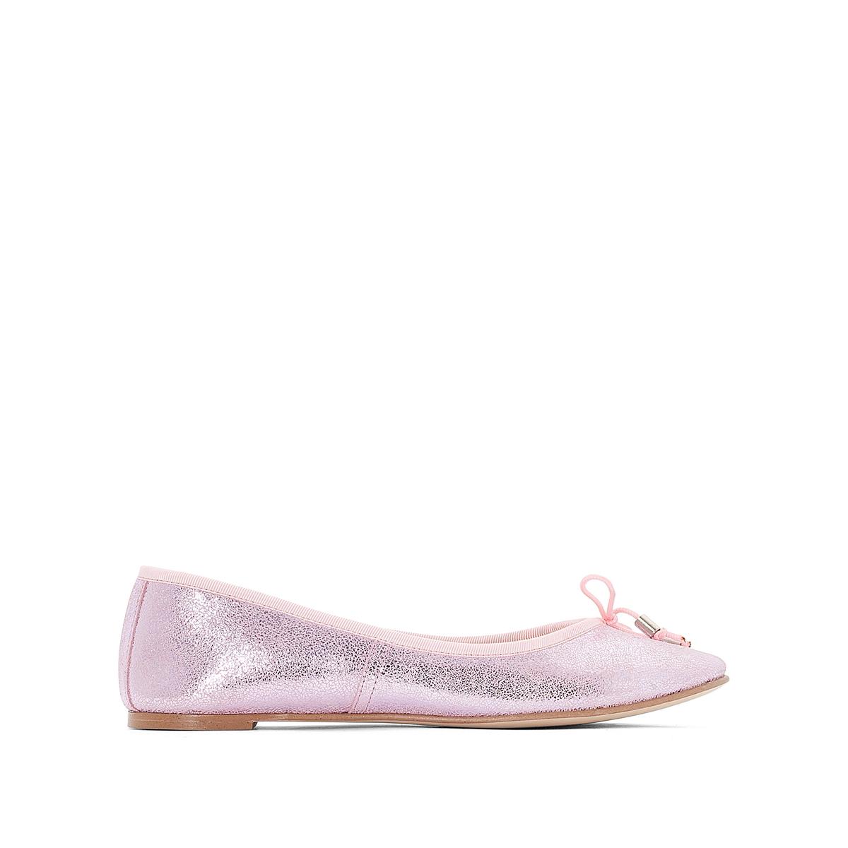 Балетки из кожи DhinВерх : Кожа.   Подкладка : Кожа.   Стелька : Кожа.   Подошва : эластомер   Форма каблука : плоский каблук   Носок : закругленный   Застежка : без застежки<br><br>Цвет: розовый