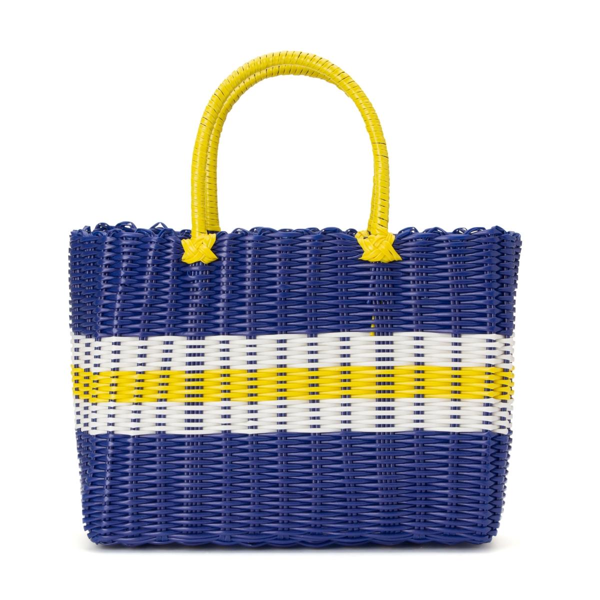 Корзина La Redoute Плетеная в полоску единый размер синий