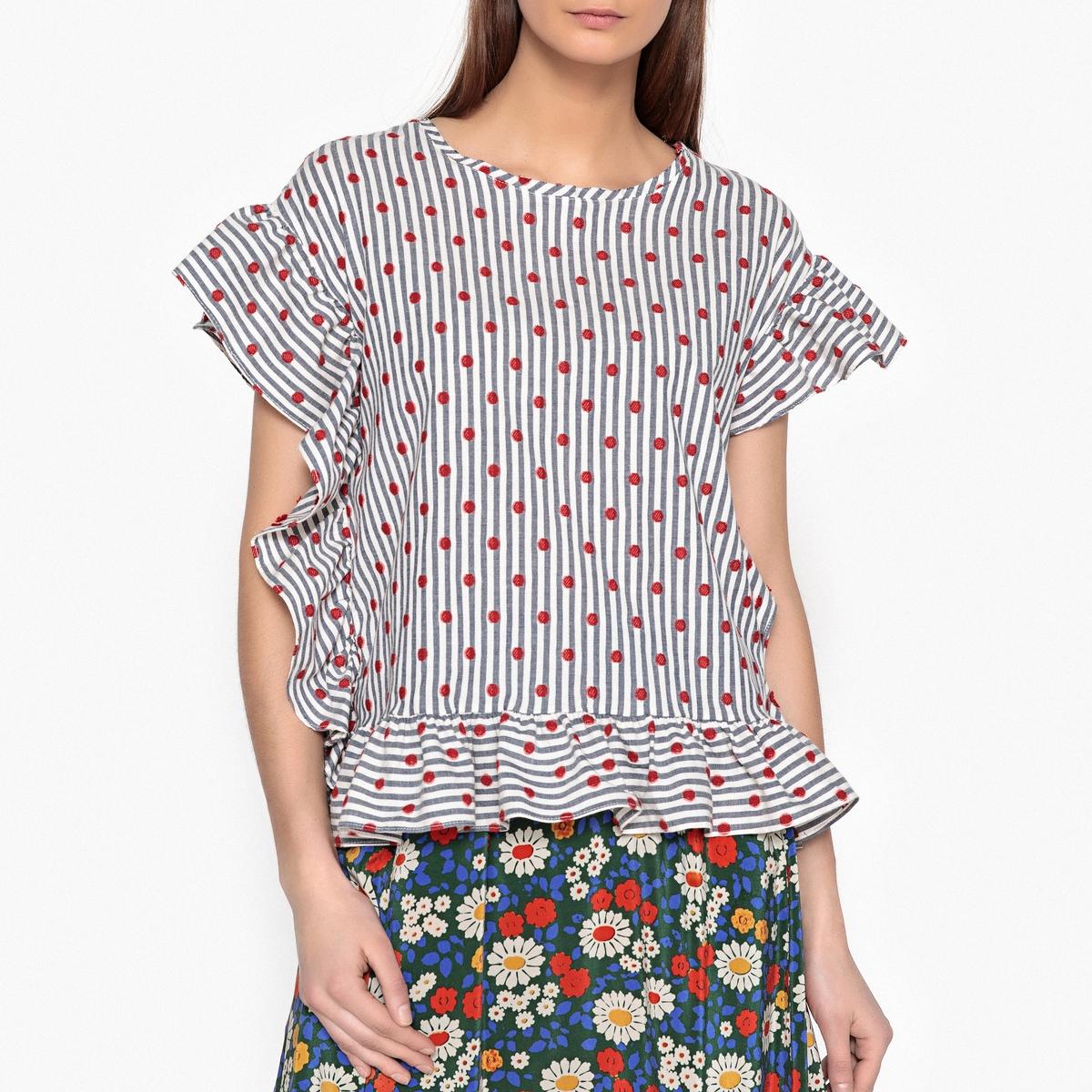 Блузка с рисунком, короткими рукавами и воланами RAMDAM блузка с рисунком и накладными воланами