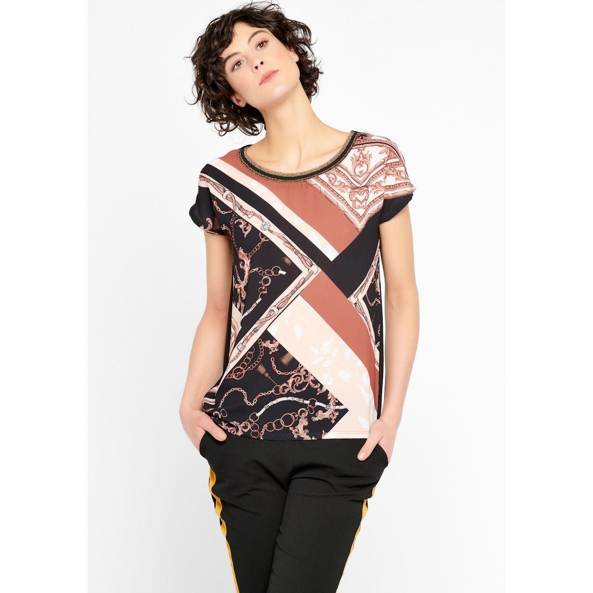 T-shirt bi-matière, imprimé foulard
