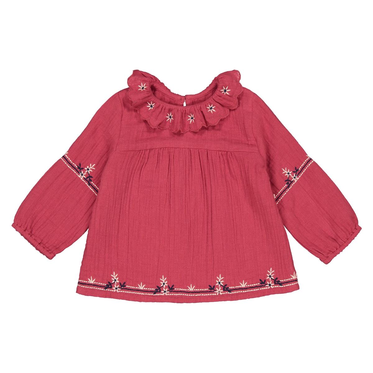 Блузка La Redoute С отложным воротником с вышивкой мес- года 1 мес. - 54 см красный шорты с вышивкой 1 мес 3 года