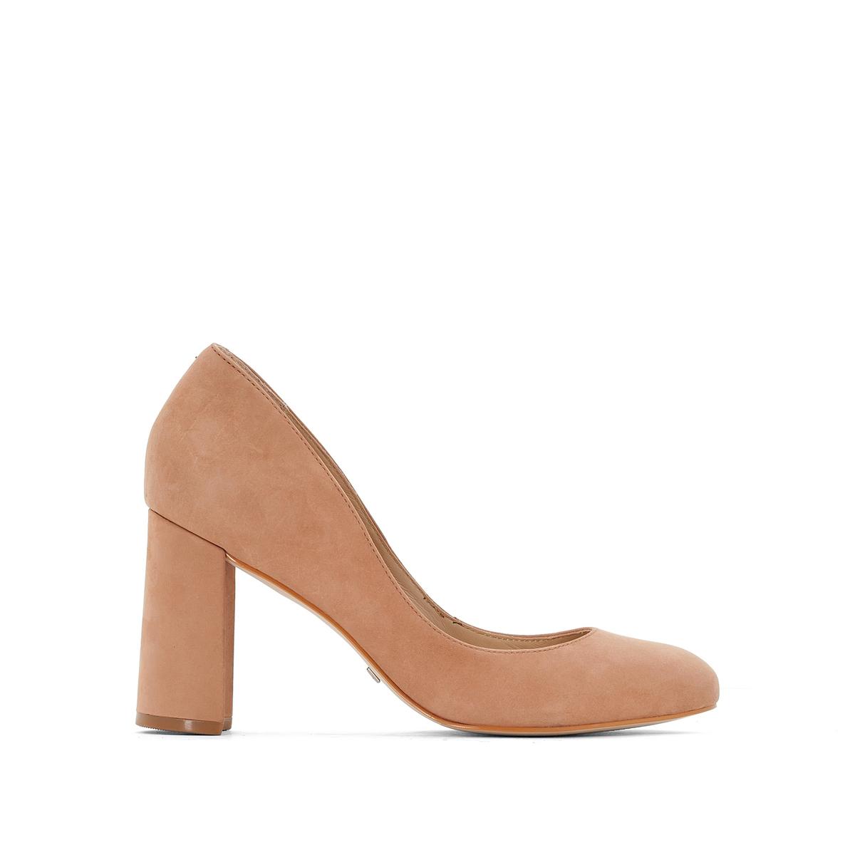 Туфли на каблуке,  ZS6112Верх / Союзка: Кожа.            Подкладка: Кожа.              Подошва: Синтетический материал.                         Высота каблука: 8 см.     Форма каблука: Широкая.        Мысок: Круглый.         Застежка: Без застежки.<br><br>Цвет: бежевый<br>Размер: 36