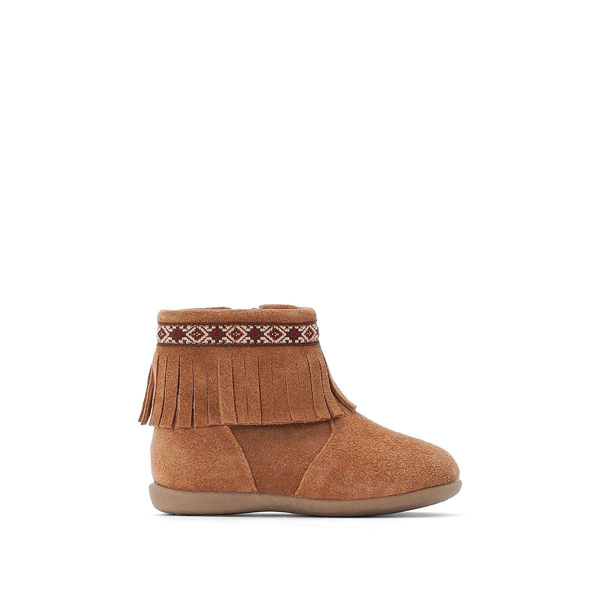 Boots cuir à franges et zippées 19-25