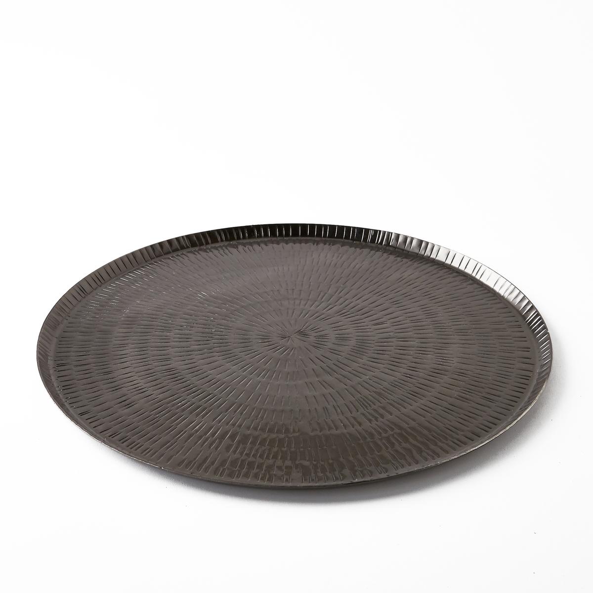 Поднос металлический кованый Sahani, диаметр 35 см<br><br>Цвет: темно-серый
