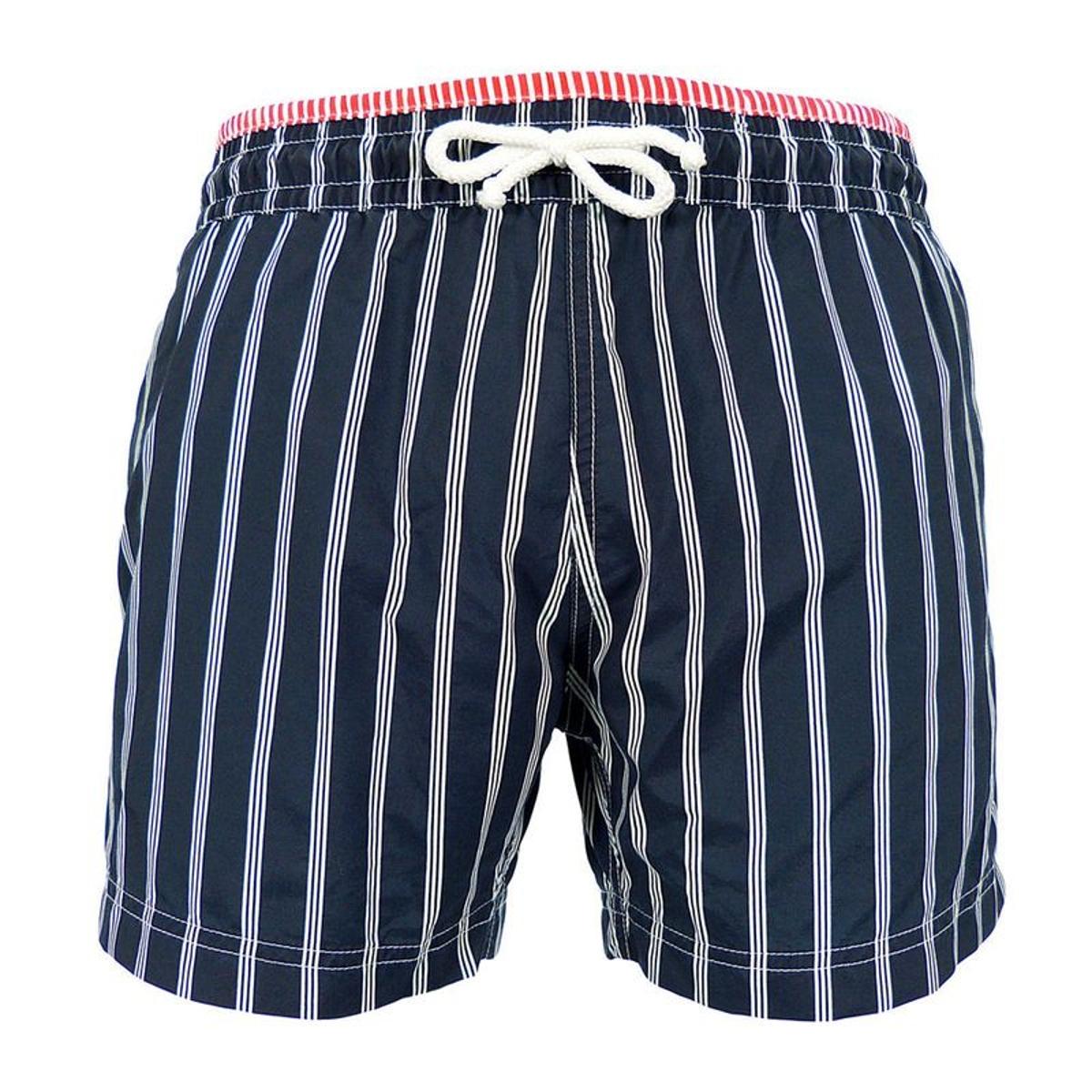 Maillot Short de bain homme New Jim - Triple rayures bleu marine