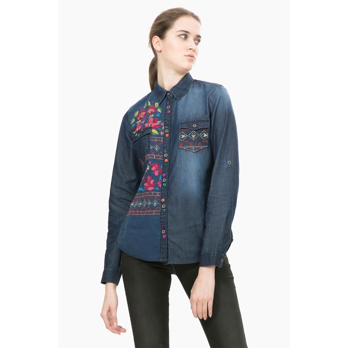 цена  Рубашка из денима с длинными рукавами и принтом, Cam Lilith  онлайн в 2017 году