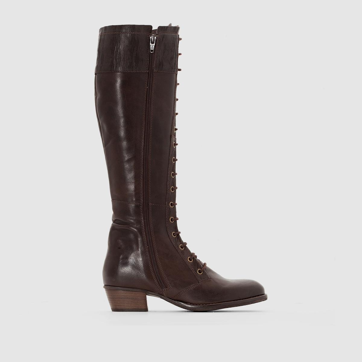 Сапоги из кожи на шнуровке RubyВерх/ Голенище : Яловичная кожа   Подкладка : Кожа   Стелька :  Кожа   Подошва : каучук.   Высота голенища : 42,5 см.    Застежка : шнуровка.<br><br>Цвет: темный каштан<br>Размер: 39