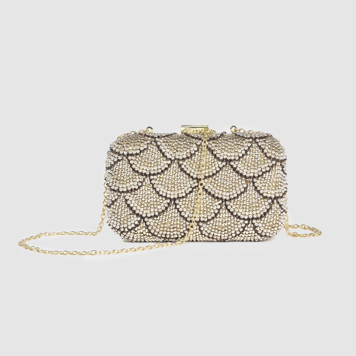 Сумка для вечернего платьяСумка-клатч для вечернего платьяМарка: MADEMOISELLE R.Размеры: 19 x 11 x 5 см.Верх: стразы.Подкладка: 100% текстиля.Застежка: на металлическую защелку.Карманы: - Плечевой ремень: металлическая цепочка. Преимущества: изысканная и элегантная сумка, которую удобно держать в руке во время вечерних мероприятий.<br><br>Цвет: золотистый