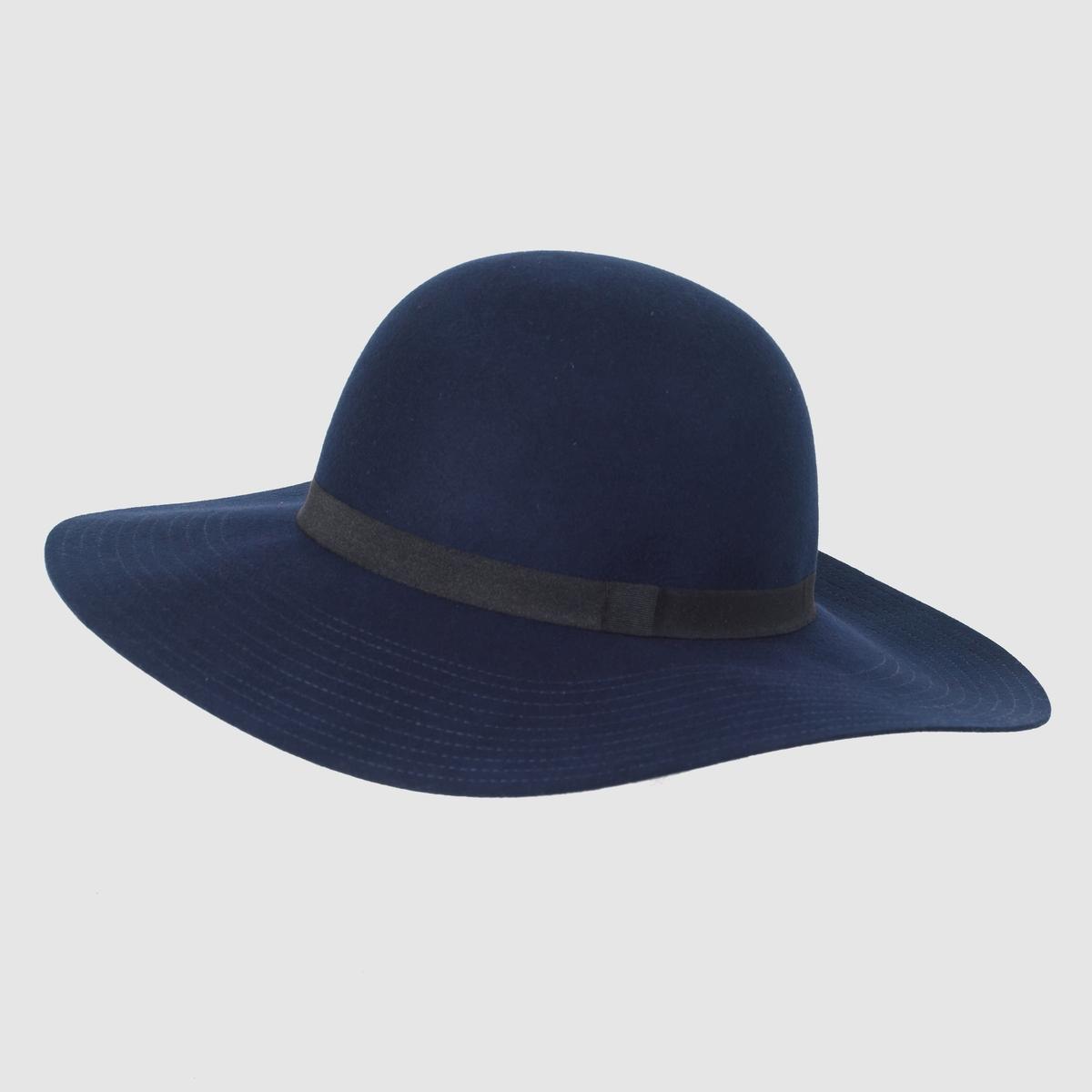 Шляпа с широкими поламиШляпа из 100% шерсти .<br><br>Цвет: темно-синий