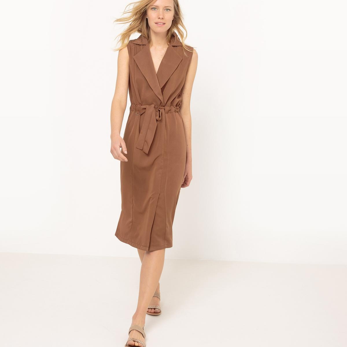 Платье-сафари на поясеМатериал : 80% вискозы, 20% полиэстера       Длина рукава : без рукавов       Форма воротника : воротник-поло, рубашечный      Покрой платья : расклешенное платье      Рисунок : однотонная модель       Особенность платья : с поясом      Длина платья : 110 см.      Стирка : машинная стирка при 40 °С      Уход : сухая чистка и отбеливание запрещены      Машинная сушка : в умеренном режиме      Глажка : при умеренной температуре<br><br>Цвет: каштановый