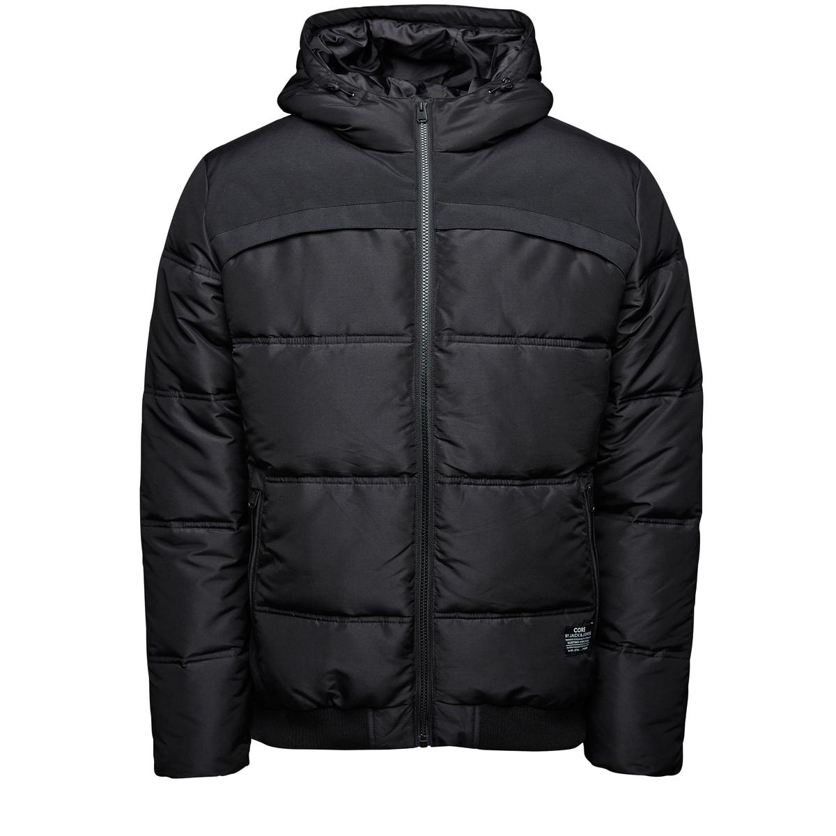 Куртка стеганая с капюшономСостав и описание :Материал : 100% полиэстерМарка : JACK &amp; JONES<br><br>Цвет: черный<br>Размер: L