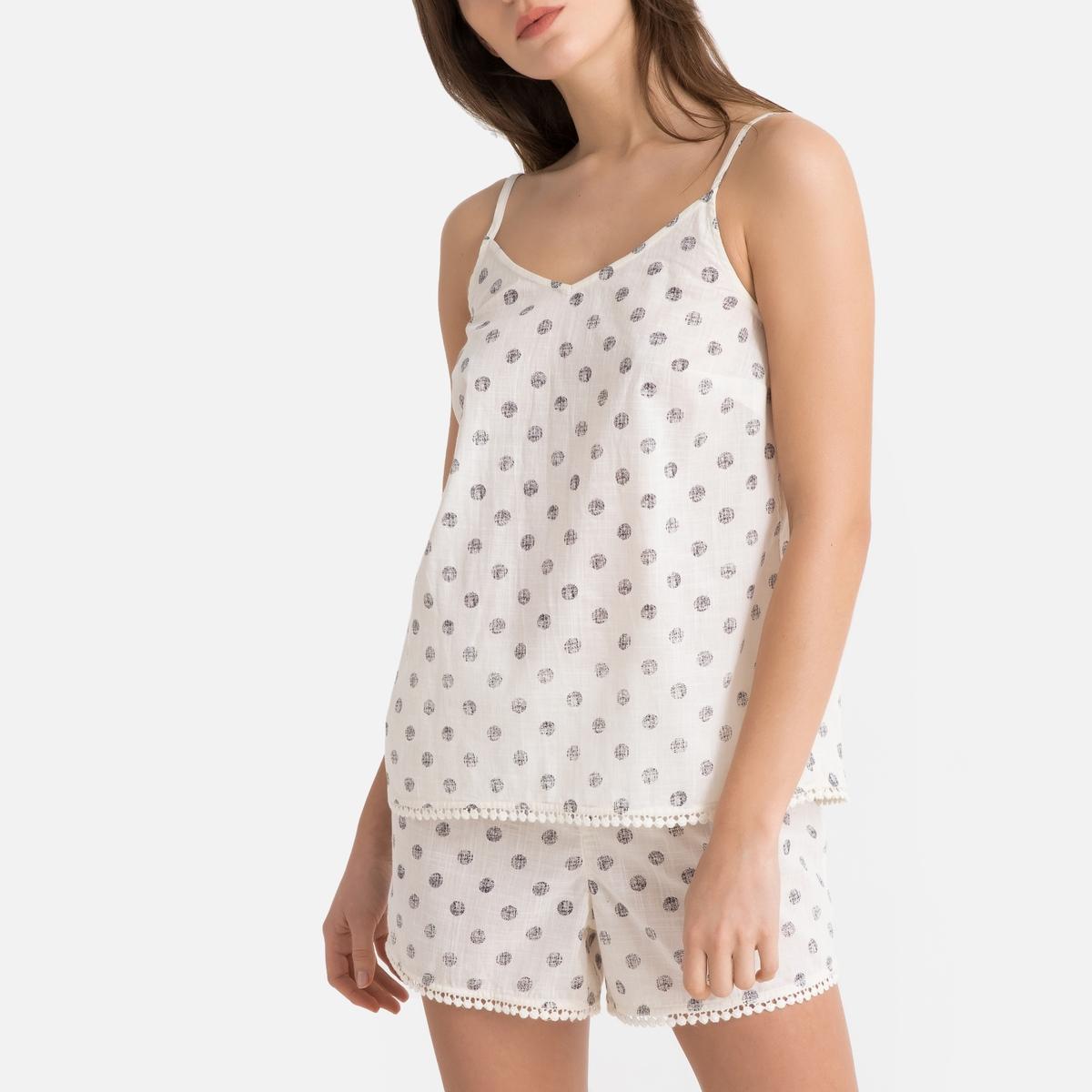 Pijama con short y estampado de lunares, 100% algodón