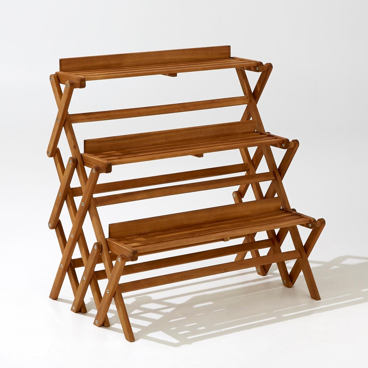 Этажерка садовая, 3-уровневая, складнаяИдеальна для сада или террасы,  на этой небольшой этажерке поместятся комнатные растения и  декоративные элементы. Очень практичная, складная, легко разбирается и собирается .                      Характеристики :           Этажерка 3-уровневая     Складная Акация, цвет тикового дерева            Общие размеры :           Ширина 80 x длина  53 x высота 83 смРазмеры:Ширина 78,5 смДлина  16,6 смКачество:Акация - это дерево с отличными механическими качествами, такими как долговечность (отличная устойчивость к воздействию насекомых и грибков)и стойкость к переменам погоды(чередование засушливых и влажных периодов).Размеры и вес упаковки :           1 упаковкаШир.97 xВыс. 16 xГл. 83 см, 8,5 кг<br><br>Цвет: акация
