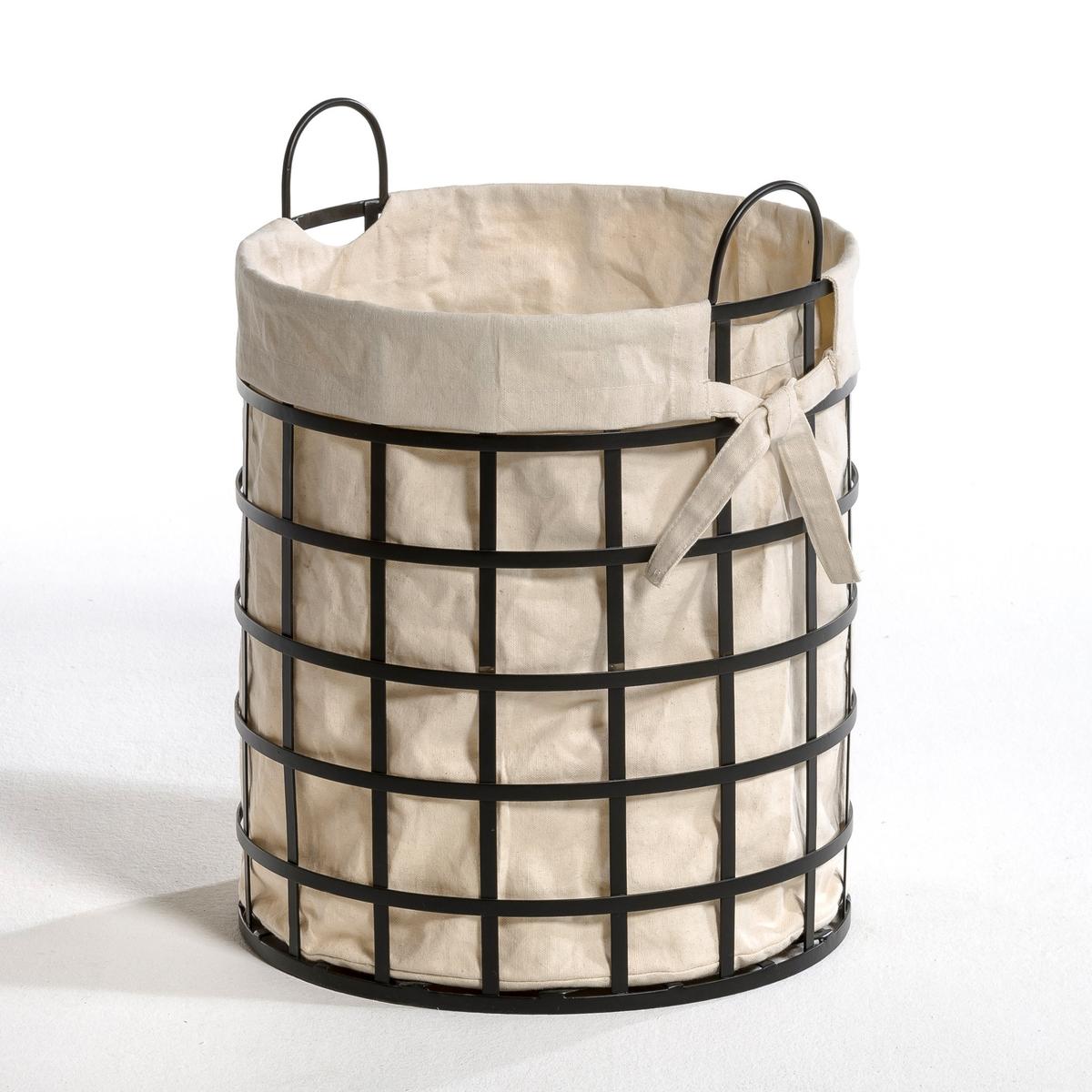 Корзина PublaniКрасивая и функциональная корзина для белья.Характеристики:- Каркас: пластины из плетеного металла. - 2 ручки.- Хлопчатобумажная съемная сумка. Размеры:- ?.38 x В.50,5 см.<br><br>Цвет: белый/ черный