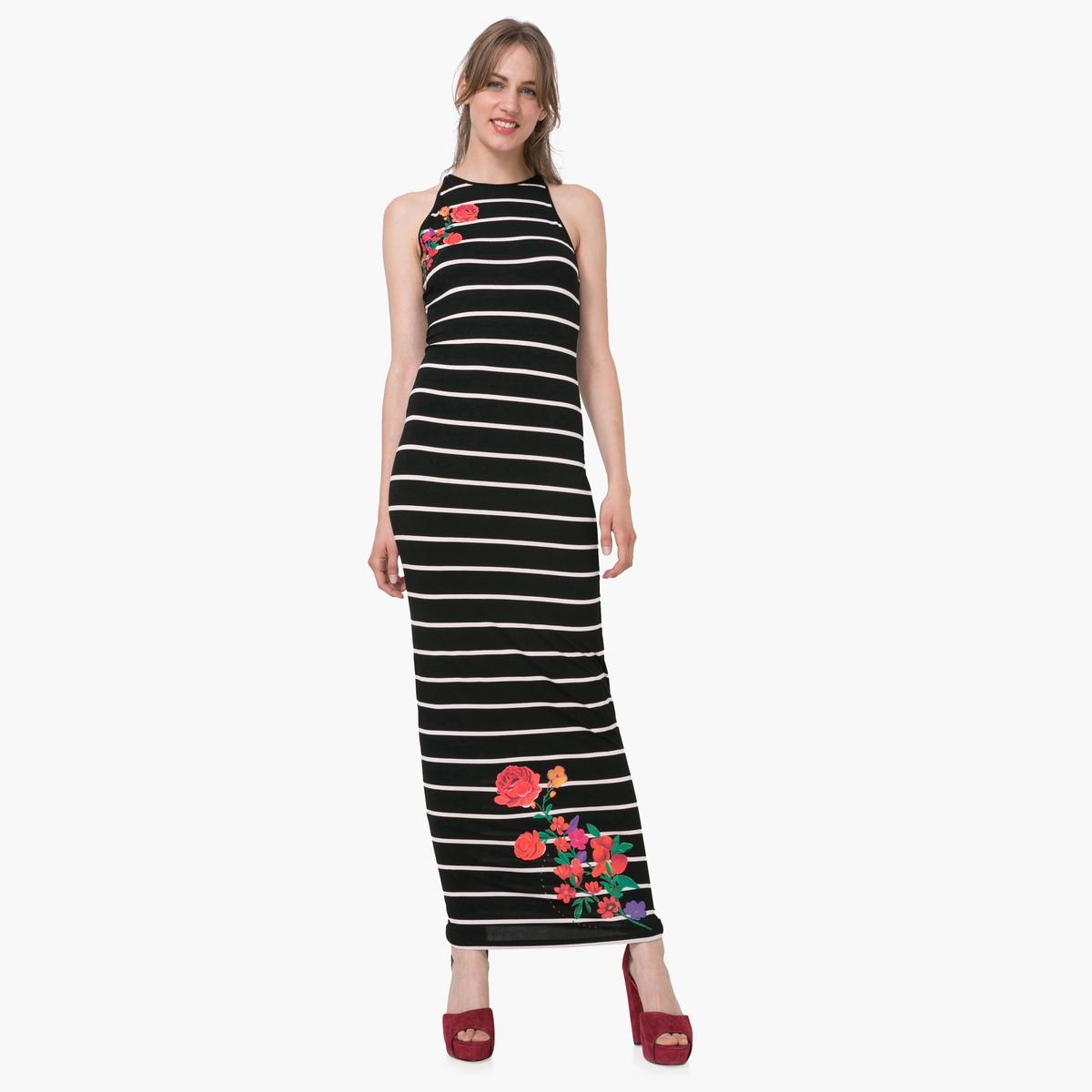 Платье длинное без рукавов с рисунком в полоску