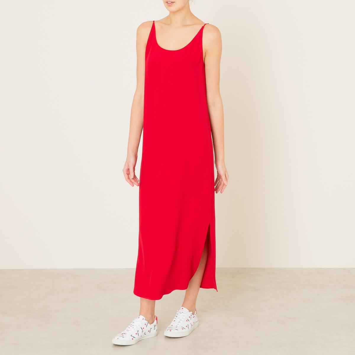 Платье YOYOПлатье BA&amp;SH - модель YOYO из струящейся ткани . Круглый вырез спереди, V-образный вырез сзади. тонкие бретели. Длина до колена. Состав и описание    Материал : 100% вискоза   Марка : BA&amp;SH<br><br>Цвет: красный<br>Размер: L