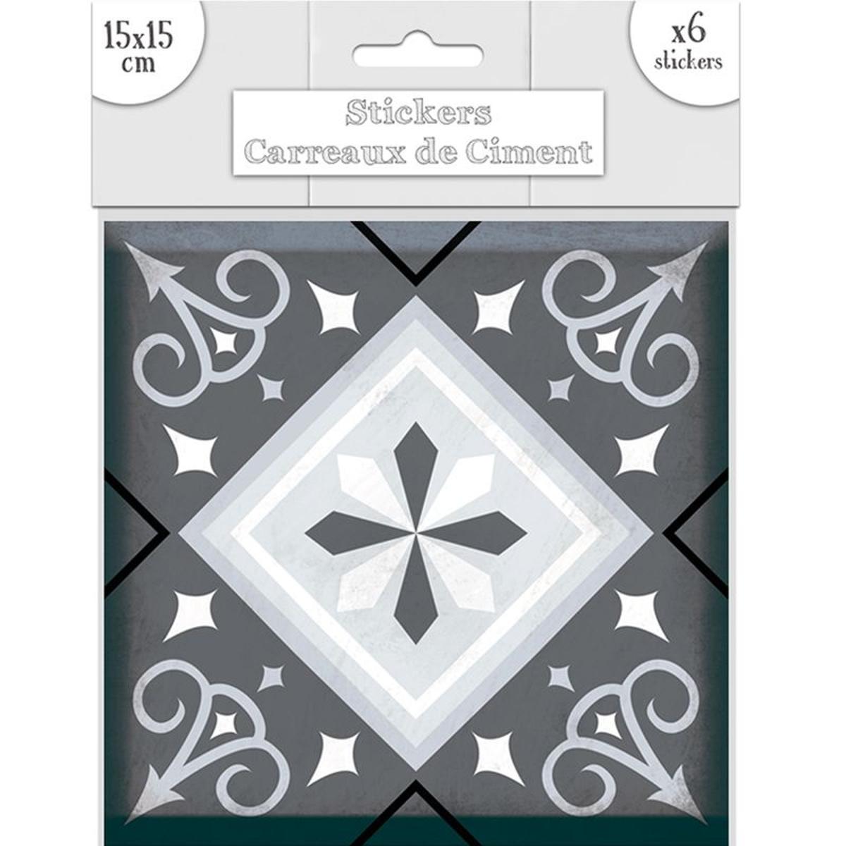 6 stickers carreaux de ciment nuances de gris 15 x 15 cm