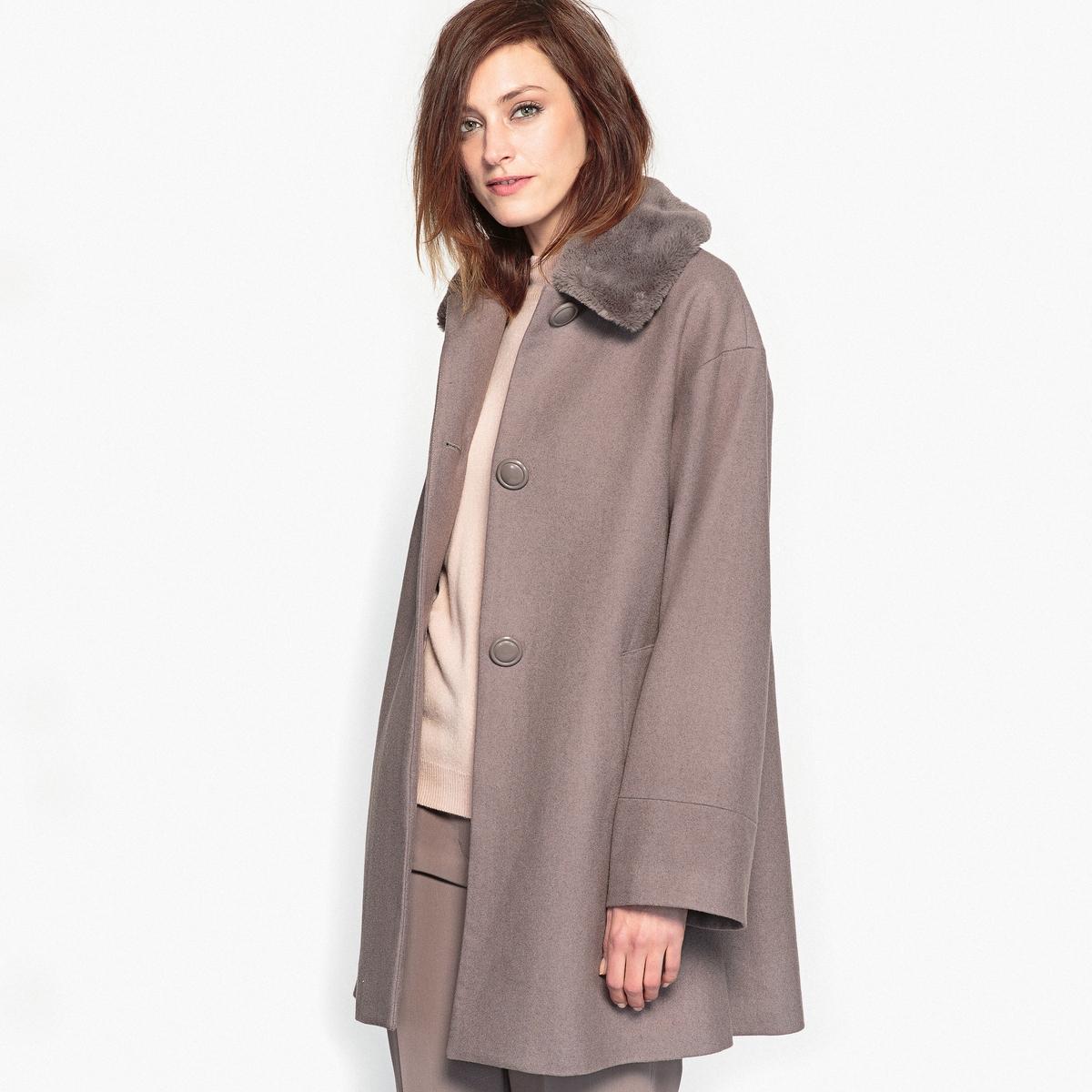 Пальто расклешённое с воротником с искусственным мехом пальто из меха норки с отделкой мехом енота