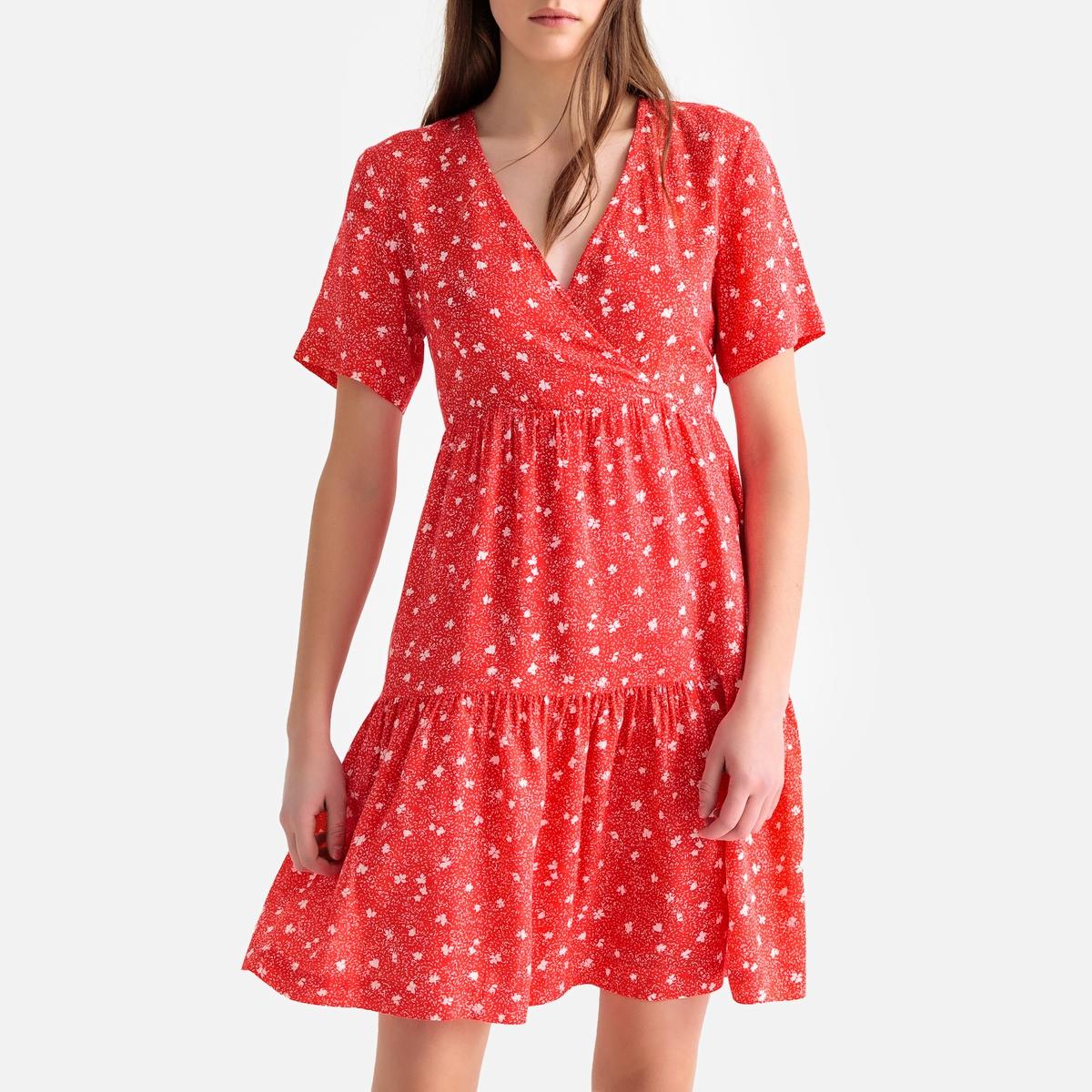 Платье La Redoute В форме каш-кер с воланами и короткими рукавами S красный пижама каш кер