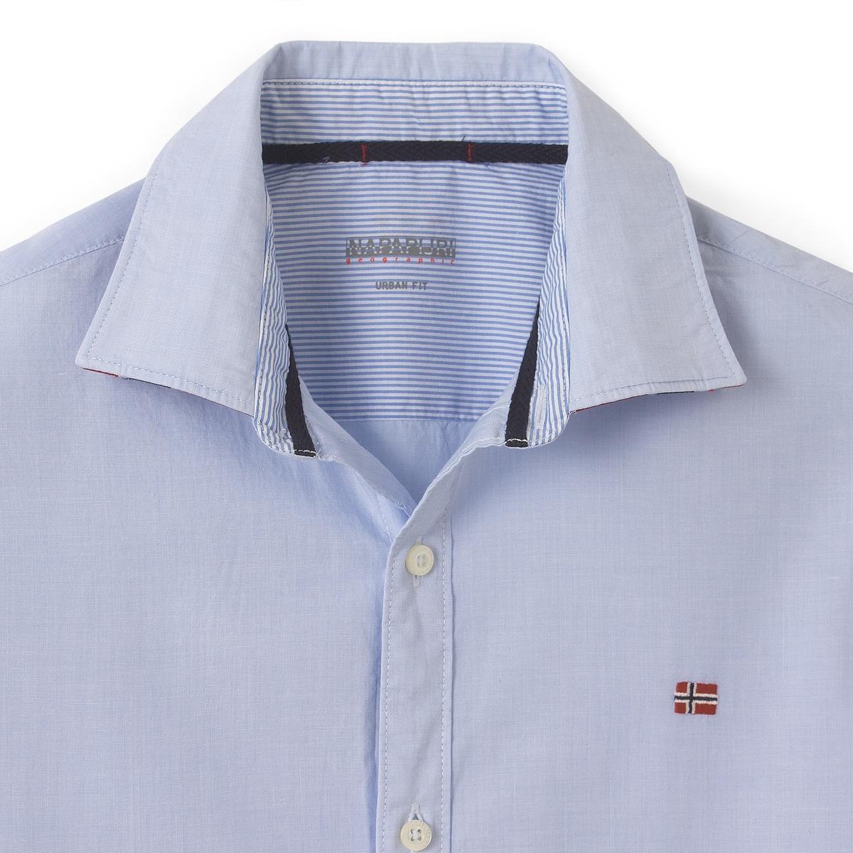 Рубашка Guyamas, воротник с рисункомРубашка GUYAMAS от марки NAPAPIJRI® - Длинные рукава с манжетами на пуговицах- Прямой покрой, слегка закругленный низ- Классический воротник со свободными уголками, с вышивкой- Застежка на пуговицы.- Вставка из ткани в виде флага под воротникомСостав и описание :Основной материал : 100% хлопокМарка : NAPAPIJRI®Уход за изделием:Следуйте рекомендациям, указанным на этикетке изделия.<br><br>Цвет: небесно-голубой<br>Размер: XL.L