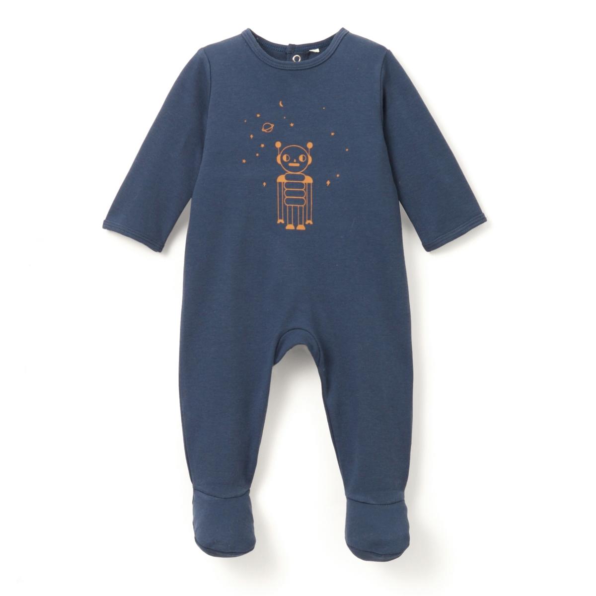 Пижама хлопковая с рисунком, 0 мес.- 3 лет