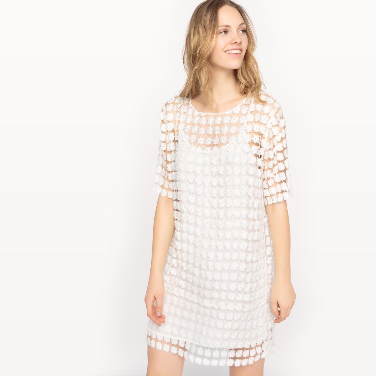 Платье с короткими рукавами и вышивкойДетали  •  Форма :прямая •  Укороченная модель •  Короткие рукава    •  Круглый вырезСостав и уход •  100% вискоза •  Следуйте советам по уходу, указанным на этикетке<br><br>Цвет: белый,оранжевый/ коралловый<br>Размер: XS