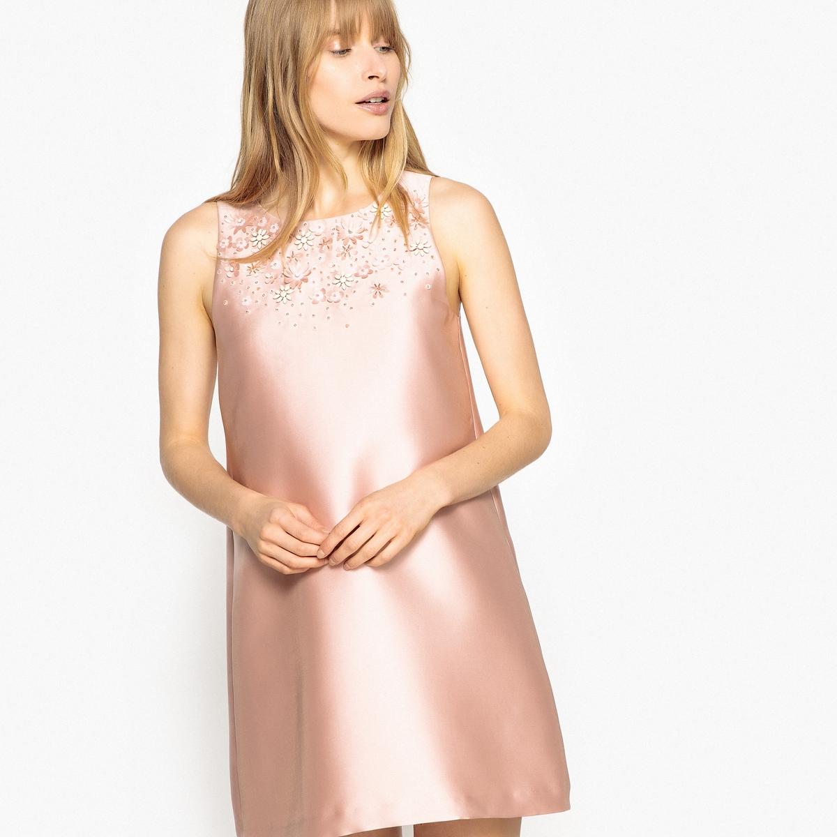 Платье La Redoute Прямое без рукавов с отделкой оригинальными бусинами 40 (FR) - 46 (RUS) розовый комбинезон la redoute широкий без рукавов 40 fr 46 rus оранжевый