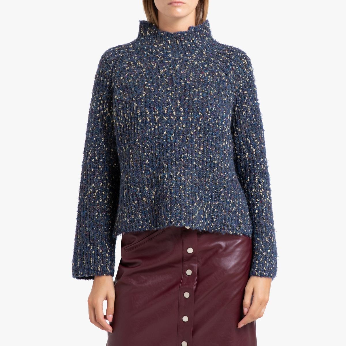 Пуловер La Redoute С воротником-стойкой из блестящего трикотажа PLACIDE 0(XS) синий