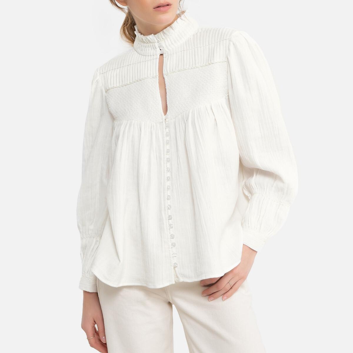 Блузка LaRedoute С V-образным вырезом и длинными рукавами 0(XS) бежевый рубашка laredoute с v образным вырезом и длинными рукавами 46 fr 52 rus бежевый