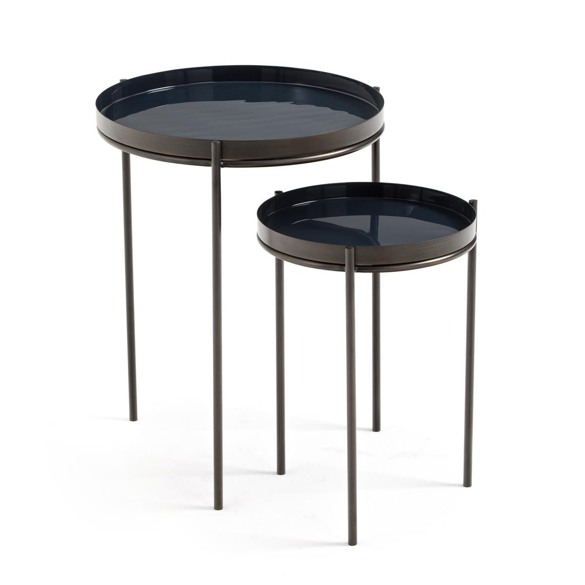 2 журнальных LaRedoute Столика из металла Picabea единый размер синий журнальные столики
