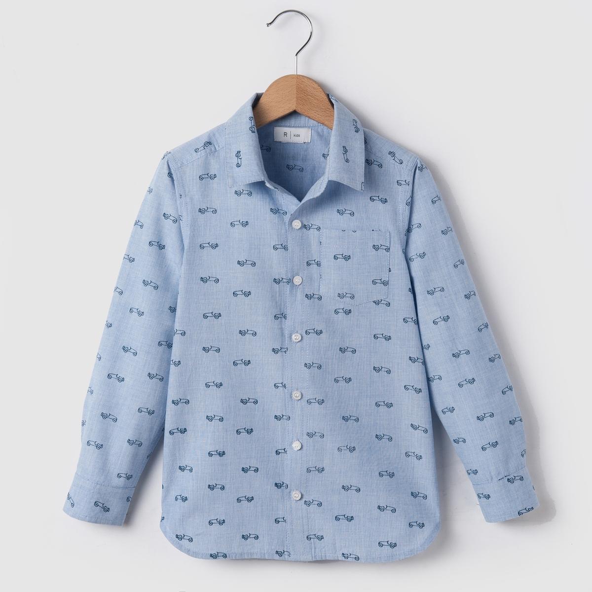 Рубашка с рисунком машины, 3-12 летРубашка из двухцветной ткани с голубой нитью с рисунком машины. Застежка и манжеты на пуговицах. 1 нагрудный карман.    Состав и описание : МатериалДвухцветная ткань с голубой нитью, 100% хлопкаМарка      R essentielУход :Машинная стирка при 40 °С с вещами схожих цветов.Стирка и глажка с изнаночной стороны.Машинная сушка в обычном режиме.Гладить при умеренной температуре.<br><br>Цвет: наб. рисунок синий