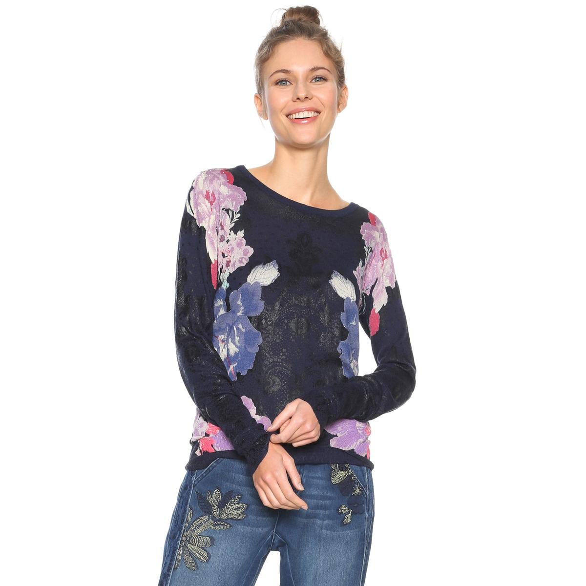 Пуловер из тонкого трикотажа, с круглым вырезом и цветочным принтом