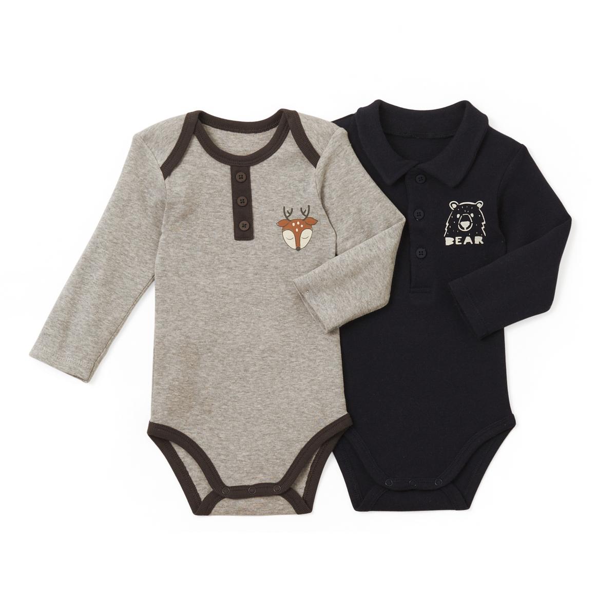 Комплект из 2 хлопковых боди для малышей 0 мес - 3 летДетали •  Рисунок  •  Для новорожденных •  Длинные рукава •  ХлопокСостав и уход •  100% хлопок  •  Стирать при 40° •  Низкая температура глажки / не отбеливать  •  Барабанная сушка на деликатном режиме  •  Сухая чистка запрещена<br><br>Цвет: серый меланж + темно-синий<br>Размер: 0 мес. - 50 см.3 года - 94 см.2 года - 86 см.3 мес. - 60 см