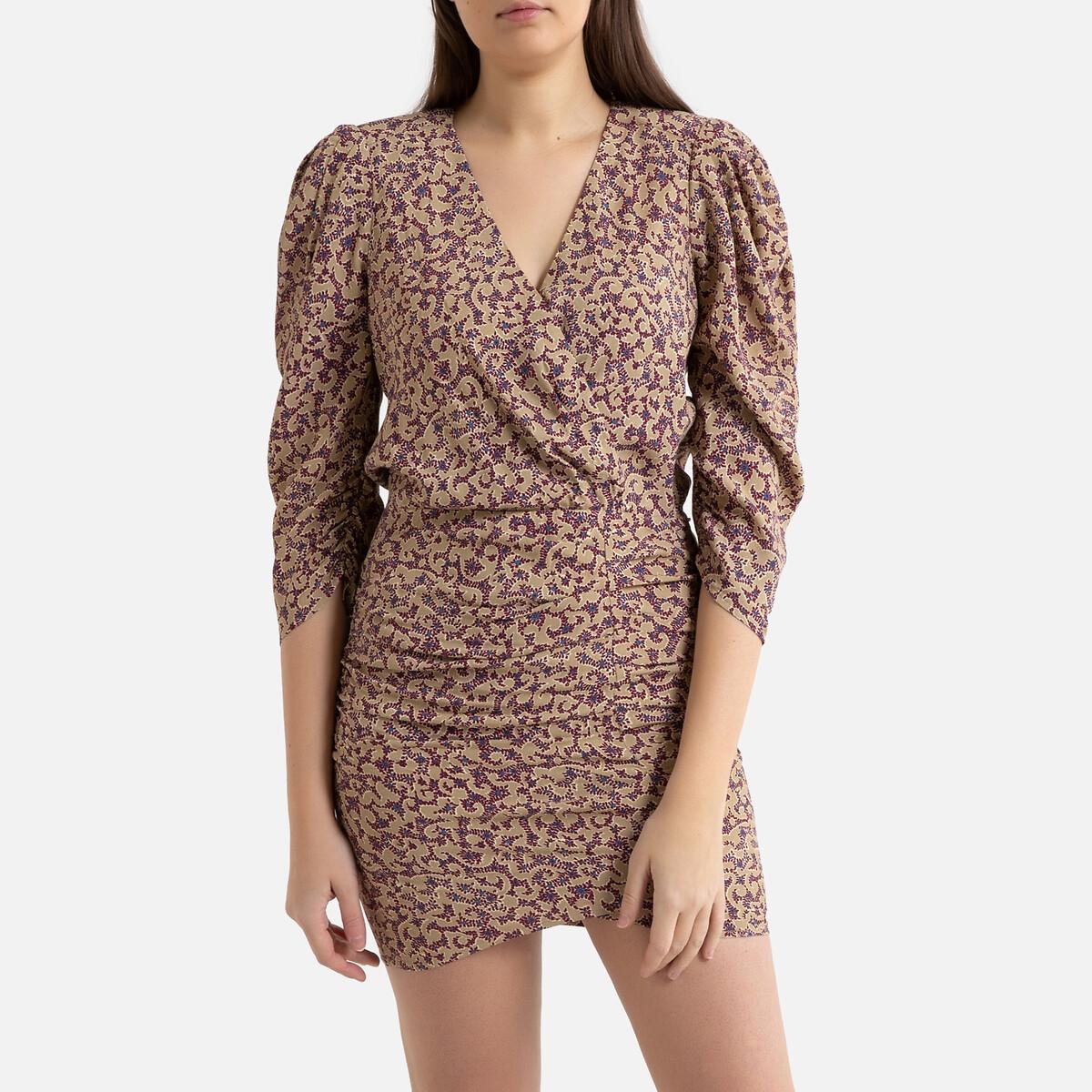 Платье La Redoute Короткое облегающее с принтом CRYSTAL 3(L) бежевый