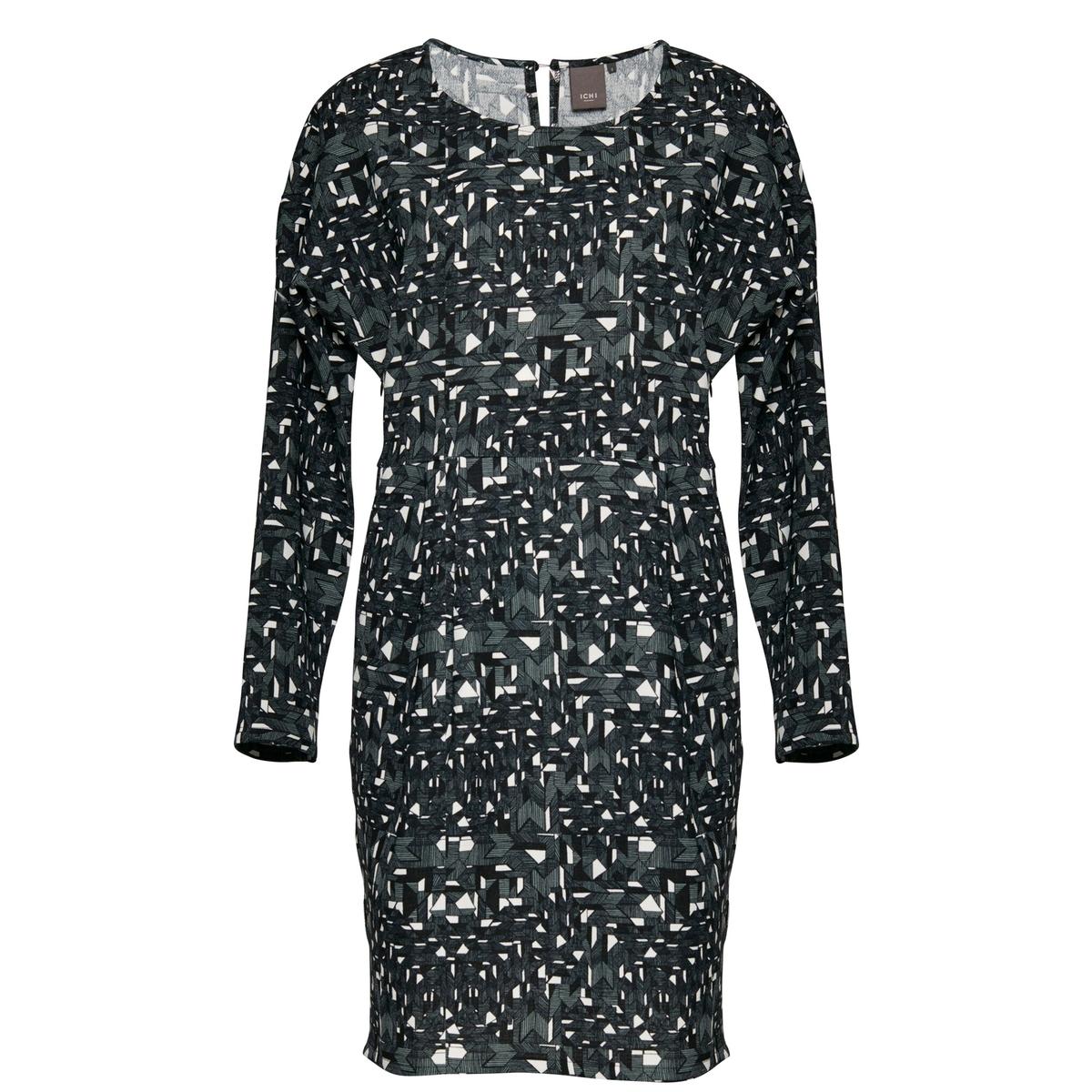 Платье с рисунком TEASER DRESS 2,длинные рукаваСостав и описаниеМарка: ICHI.Модель: TEASER DRESS 2.Материал: 100% полиэстер.<br><br>Цвет: зеленый лесной<br>Размер: M.S