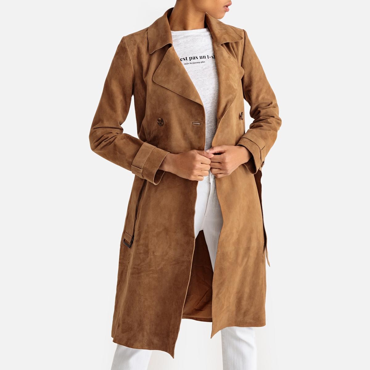 Жакет-тренч La Redoute Длинный кожаный 42 (FR) - 48 (RUS) каштановый цена 2017