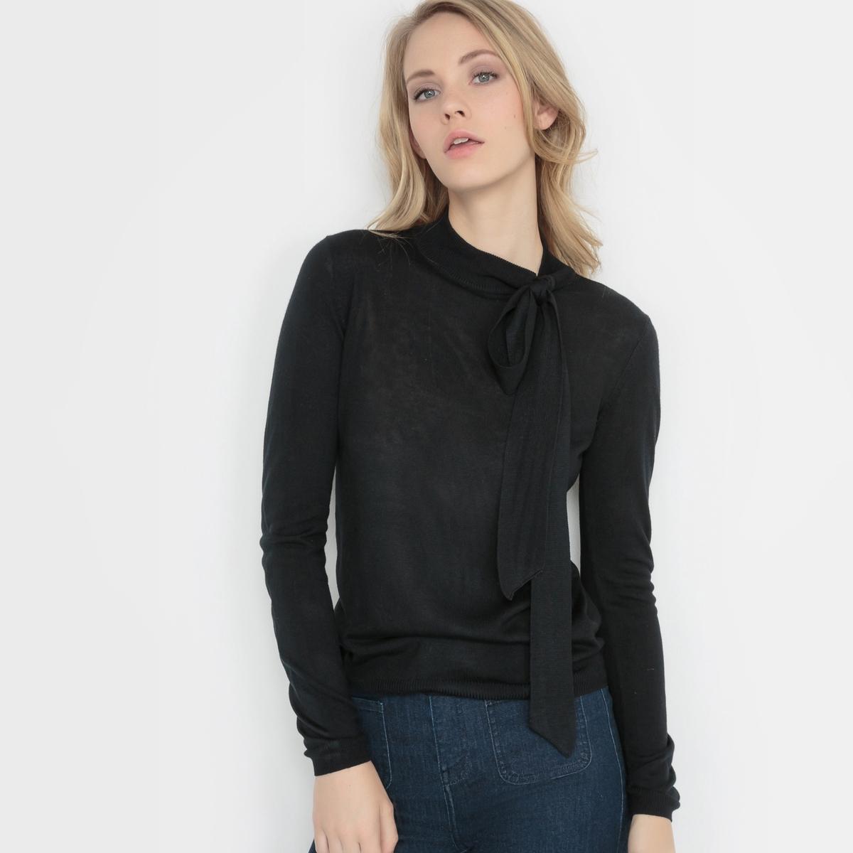 Пуловер из трикотажа мелкой вязки с завязками на вырезеСостав и описаниеМатериал: 50% акрила, 50% вискозы.Длина: 58 см.Марка: R Edition. УходСтирать при 30°С с вещами подобных цветов.<br><br>Цвет: черный<br>Размер: 42/44 (FR) - 48/50 (RUS)