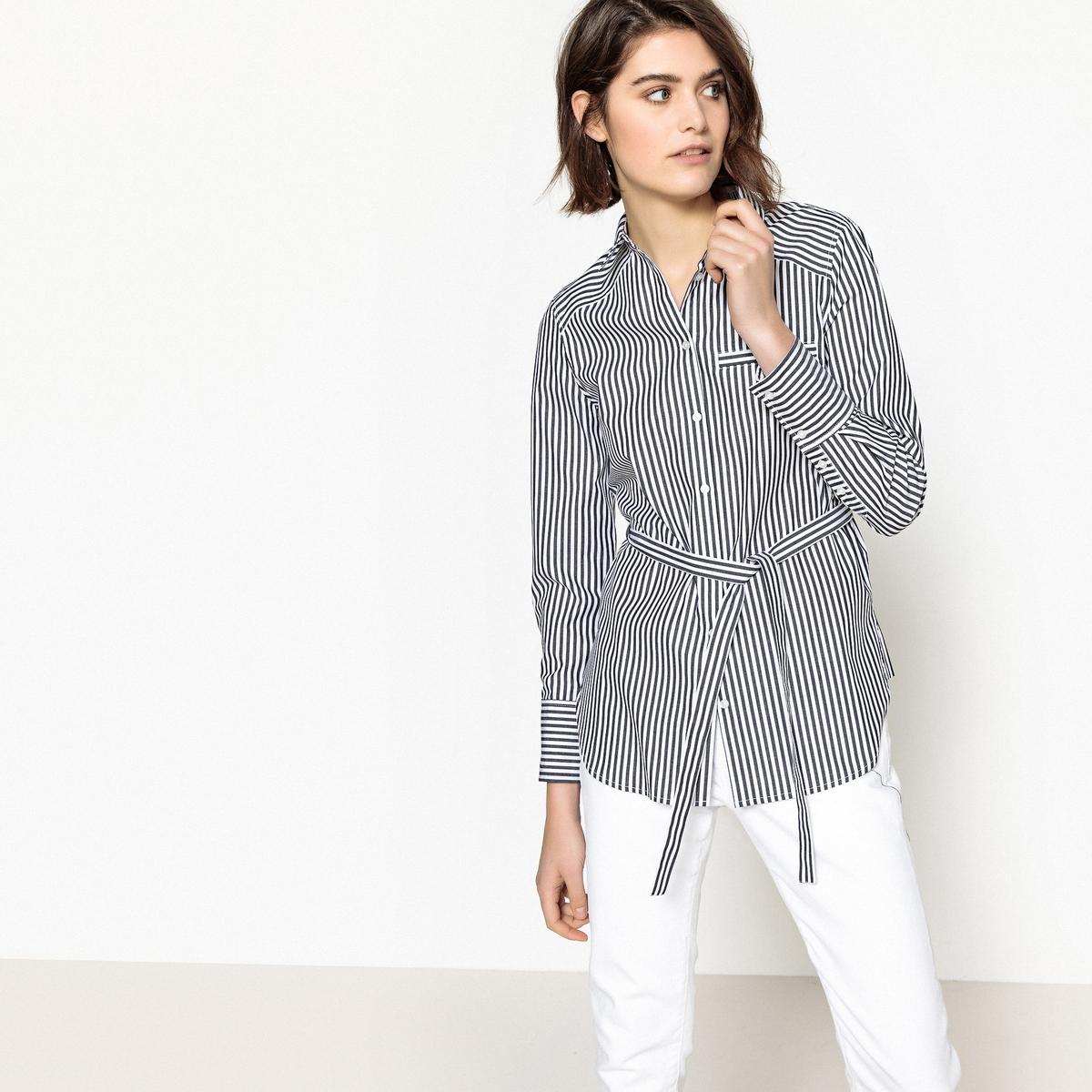 Gestreifte| langärmelige Tunika mit Hemdkragen | Bekleidung > Tuniken > Sonstige Tuniken | Schwarz | Baumwolle | La Redoute Collections