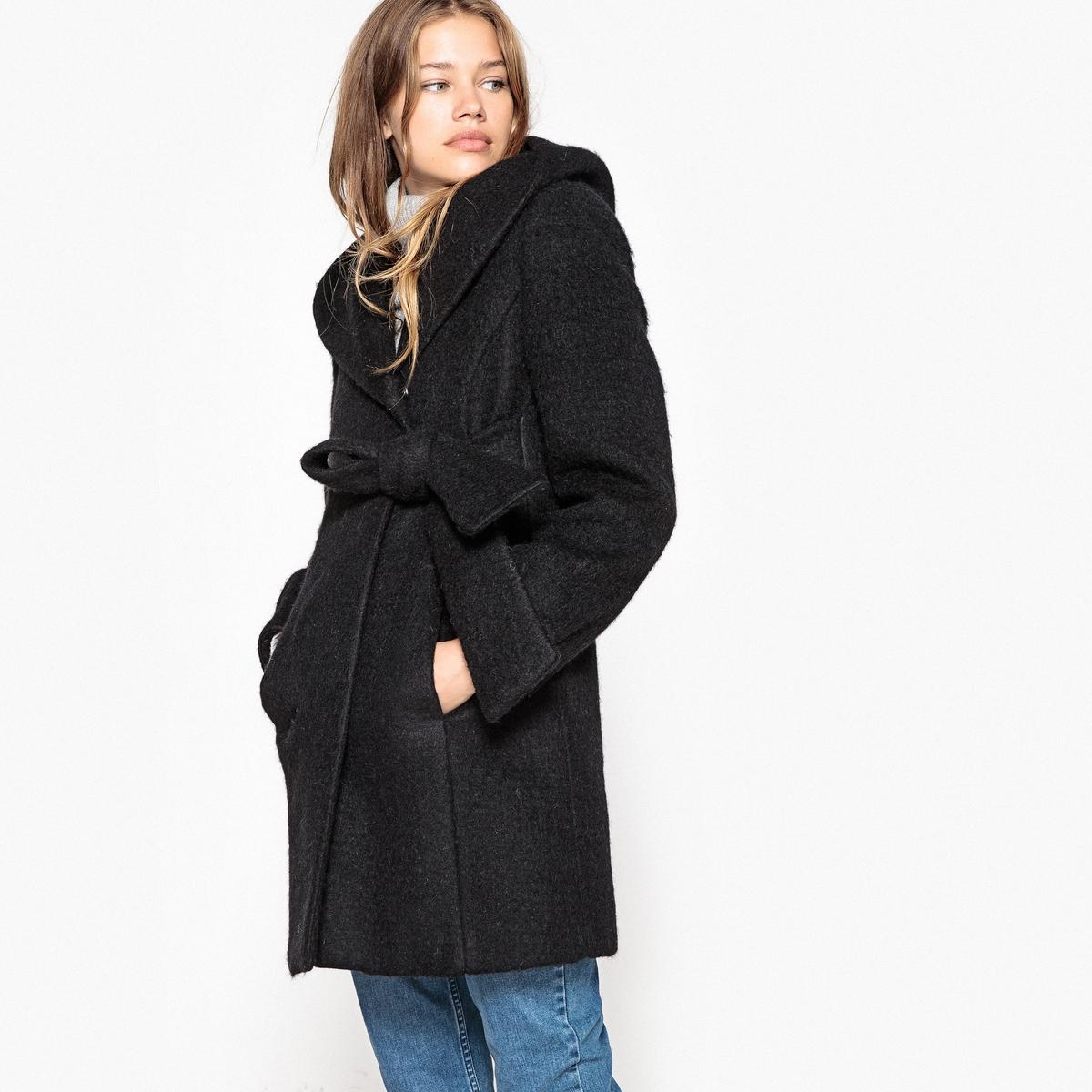 Пальто женское в форме халатаОписание:Большое обволакивающее пальто в форме халата. Комфортное и модное пальто стильной обволакивающей формы!Детали •  Длина : средняя •  Капюшон •  Без застежки •  С капюшономСостав и уход •  63% шерсти, 37% полиэстера •  Подкладка : 100% полиэстер • Не стирать •  Деликатная чистка/без отбеливателей •  Не использовать барабанную сушку   •  Низкая температура глажки •  Длина : 85 см<br><br>Цвет: розовый,черный<br>Размер: 34 (FR) - 40 (RUS).38 (FR) - 44 (RUS)