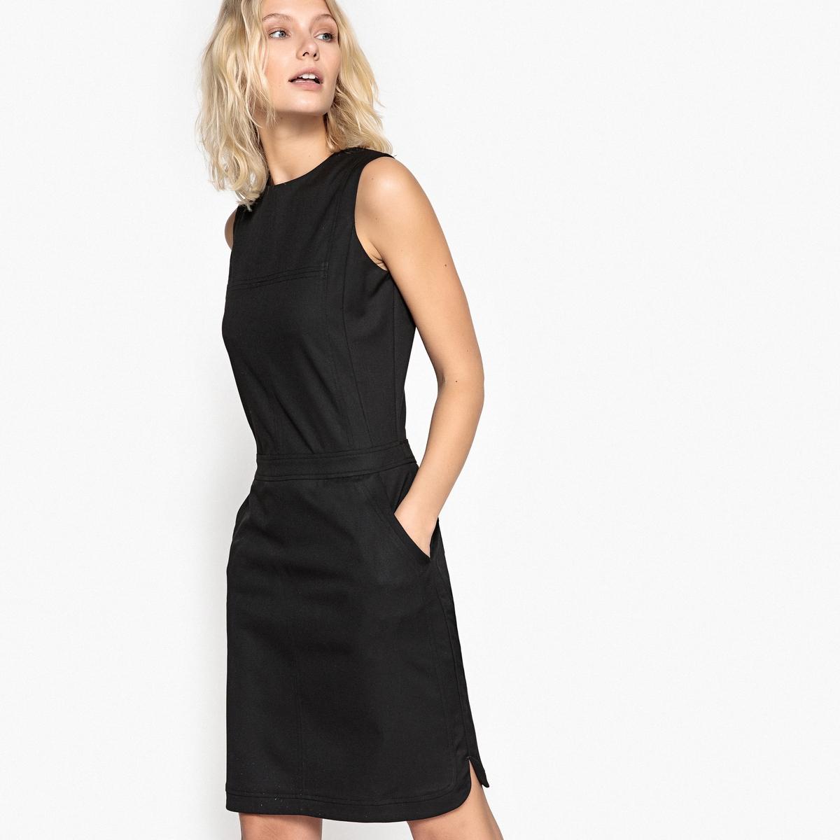 Платье прямое однотонное с застежкой на молнию сзади и без рукавовДетали •  Форма : расклешенная •  Укороченная модель •  Без рукавов    •  Круглый вырезСостав и уход •  35% вискозы, 2% эластана, 63% полиэстера •  Стирать при 40° •  Сухая чистка и отбеливание запрещены •  Не использовать барабанную сушку •  Низкая температура глажки •  Длина  : 92 см<br><br>Цвет: черный