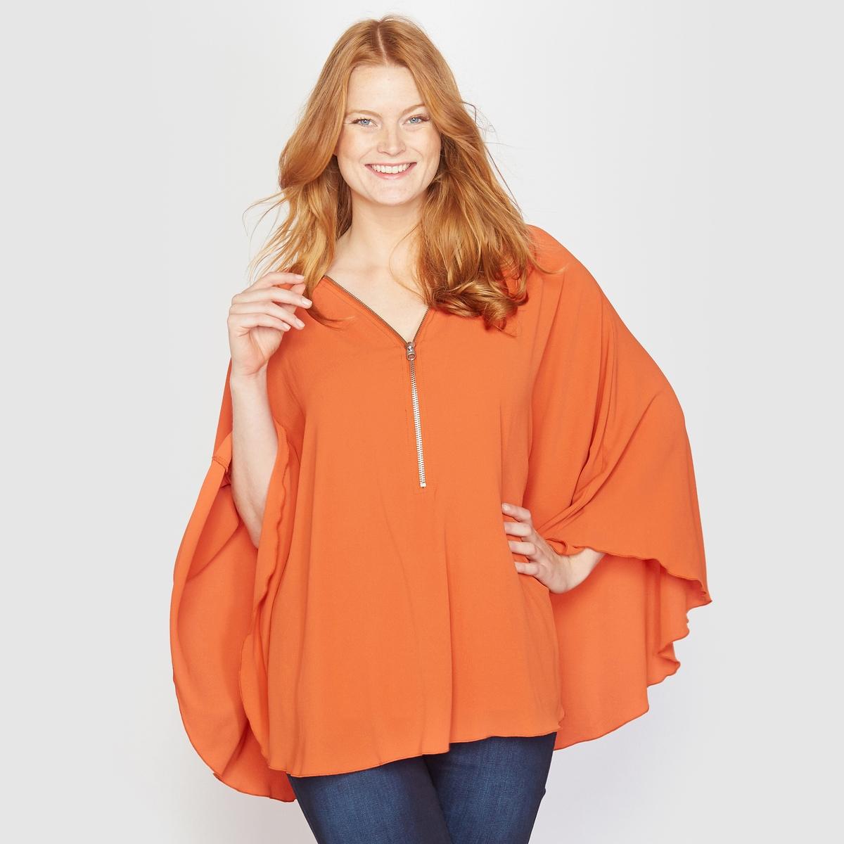 Блузка в форме накидкиБлузка. Такая женственная и удобная форма накидки с регулируемым благодаря застёжке на молнии вырезом. Из вуали,  96% полиэстера, 4% эластана, подкладка, 100% полиэстера. Длина 65 см.<br><br>Цвет: оранжевый