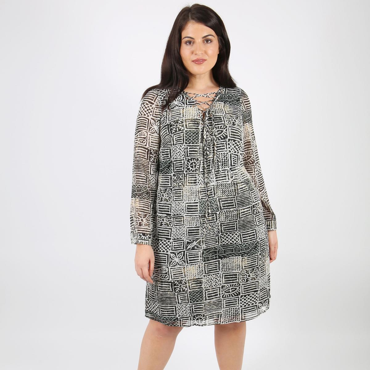 Платье расклешенное средней длиныДетали •  Форма : расклешенная •  Длина до колен •  Длинные рукава    •   V-образный вырез •  Рисунок-принтСостав и уход •  100% полиэстер •  Следуйте рекомендациям по уходу, указанным на этикетке изделияТовар из коллекции больших размеров<br><br>Цвет: набивной рисунок<br>Размер: 50/52 (FR) - 56/58 (RUS).46 (FR) - 52 (RUS)