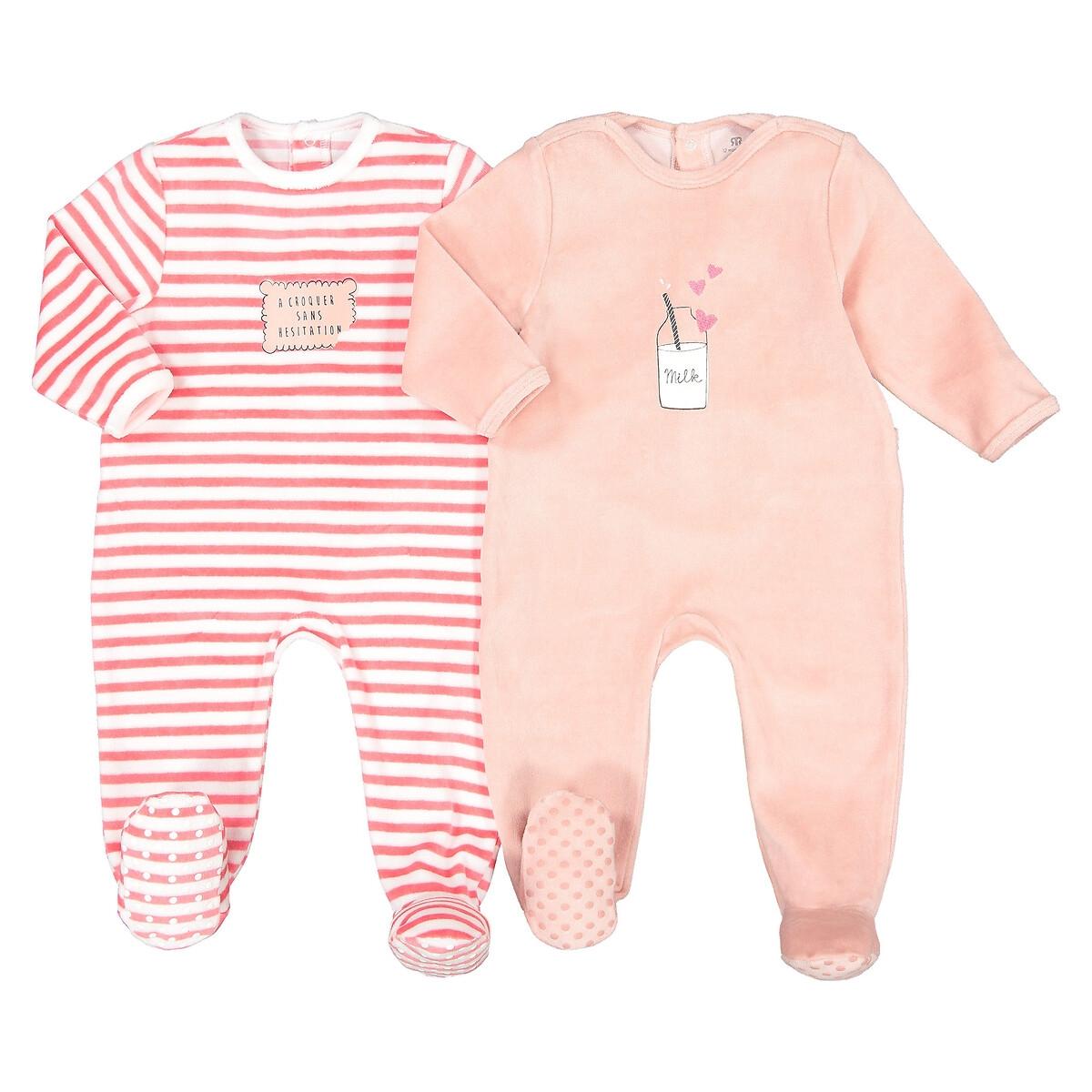 Комплект из 2 пижам из LaRedoute Велюра 0 мес - 3 года 1 мес. - 54 см розовый пижама laredoute с носочками из велюра 0 мес 3 года 3 мес 60 см серый