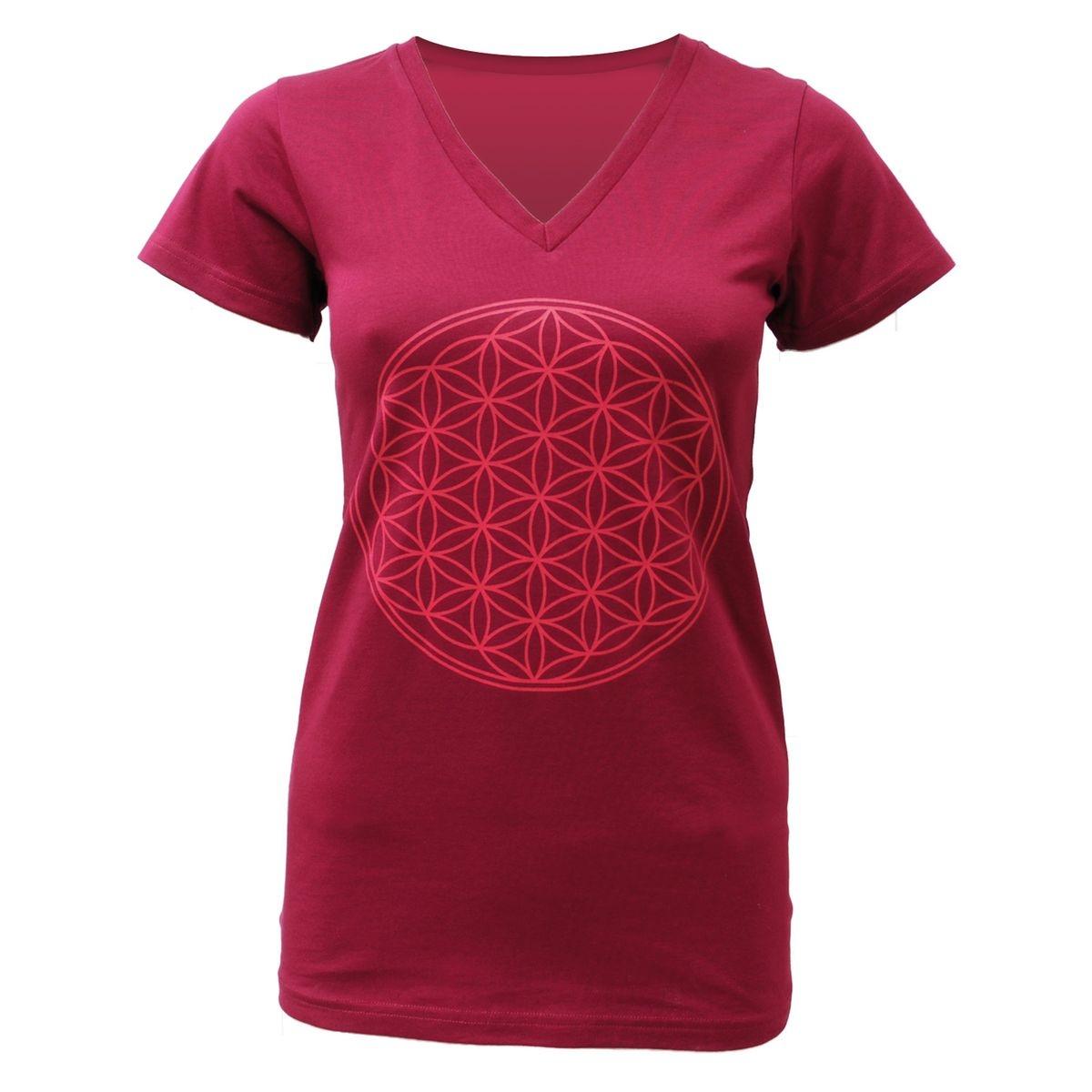 T-shirt Yoga  Fleur de Vie  - bordeaux bordeaux