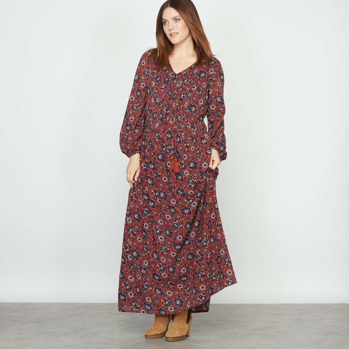 Платье длинное с принтом или однотонное