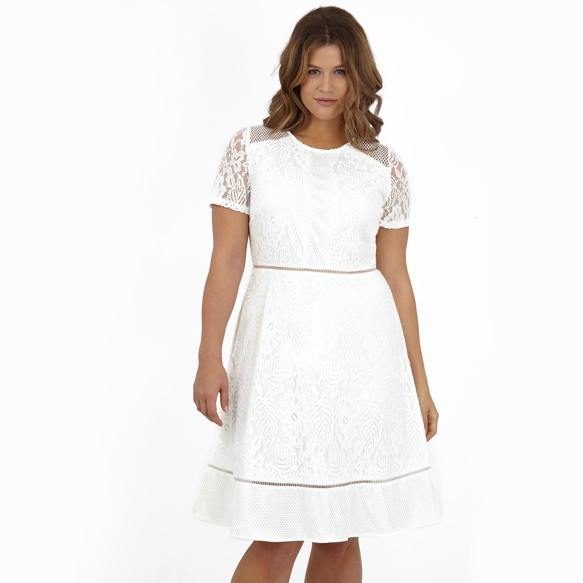 ПлатьеПлатье с короткими рукавами KOKO BY KOKO. 100% полиэстер.<br><br>Цвет: слоновая кость<br>Размер: 50/52 (FR) - 56/58 (RUS)