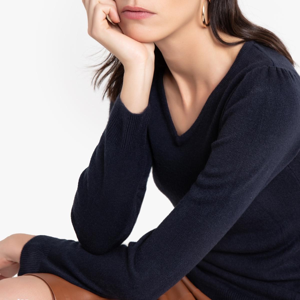 цена Пуловер La Redoute С V-образным вырезом из тонкого трикотажа 34/36 (FR) - 40/42 (RUS) синий онлайн в 2017 году